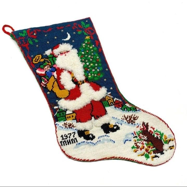 Crewel Christmas Stocking Vintage Santa