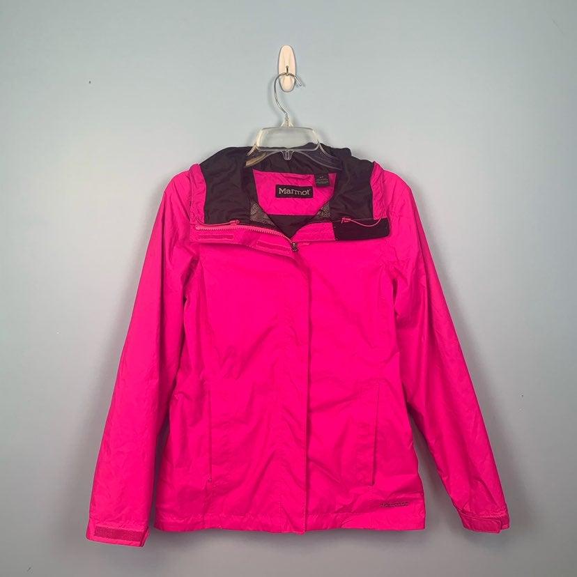 Neon Pink Marmot Hooded Rain Jacket - S