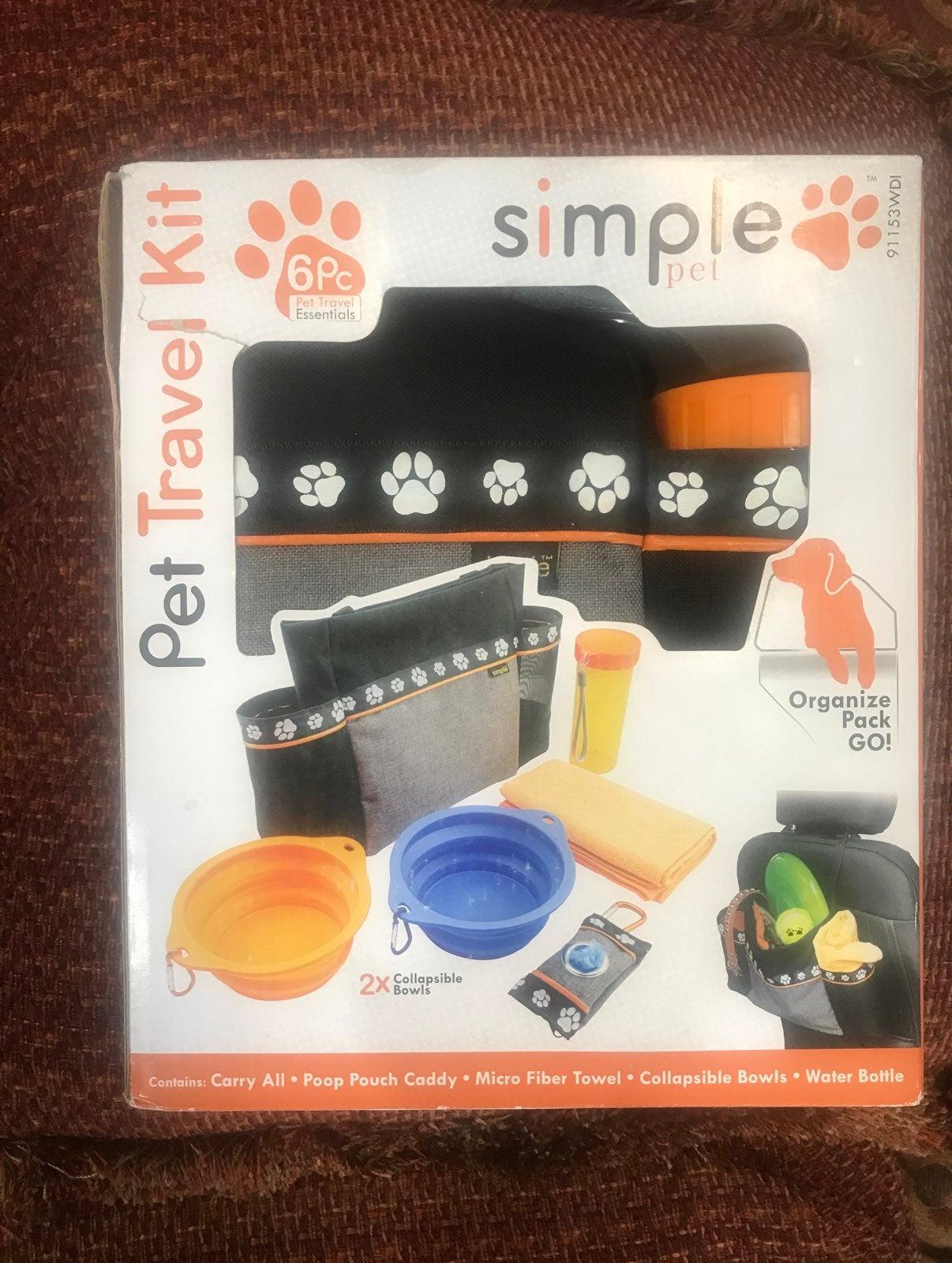 6 piece pet travel kit
