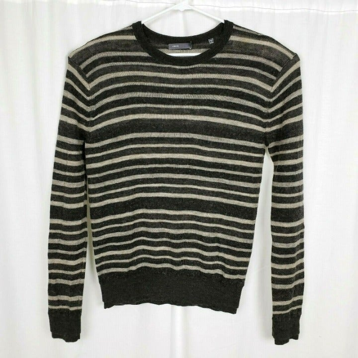 Vince Baby Camel Wool Striped Sweater