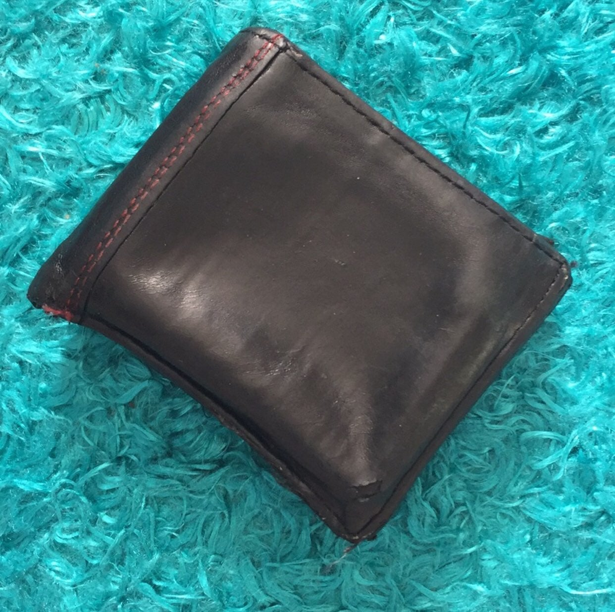 Black and red genuine leather wallet