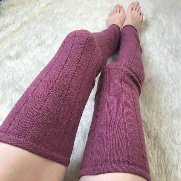 Soft Purple Sweater Knit Rib Leg Warmers