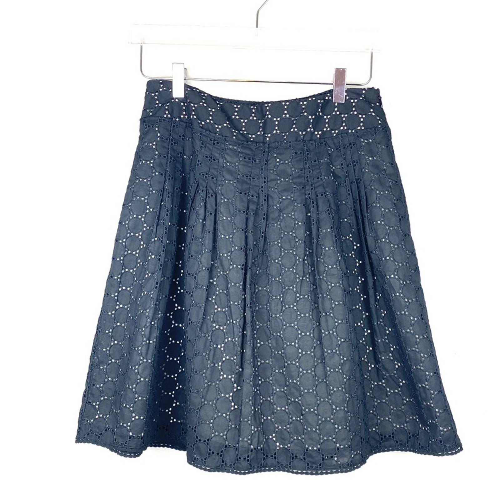 Ann Taylor Petite Eyelet Black Skirt