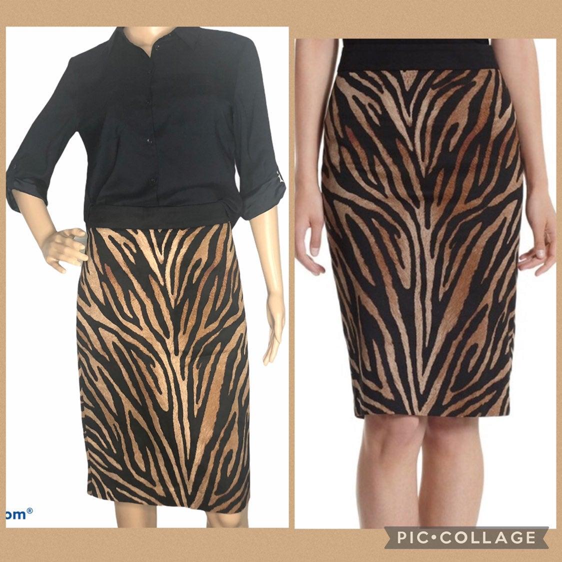NWT WHBM animal print pencil skirt Sz 8