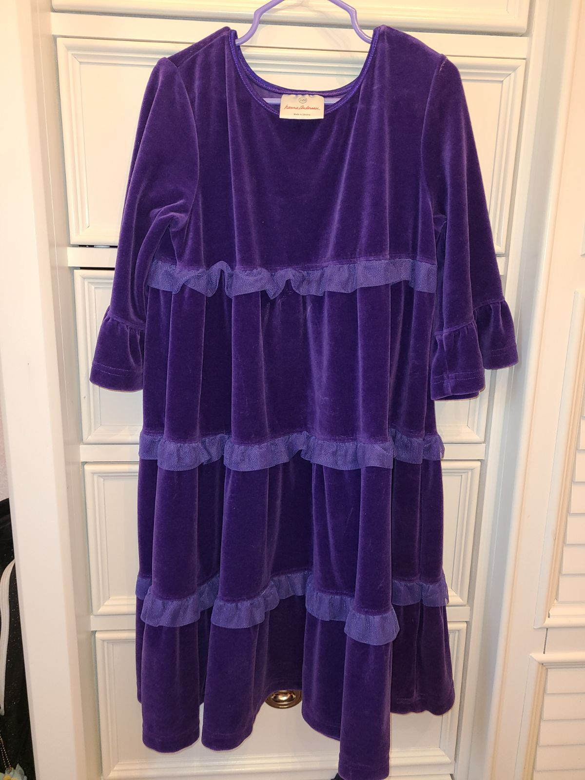 Hanna Andersson purple velvet twirl dres