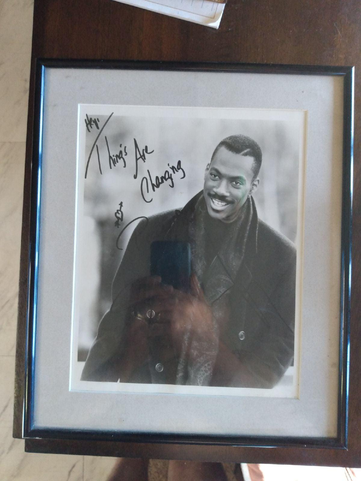 Framed Eddie Murphy signed photo