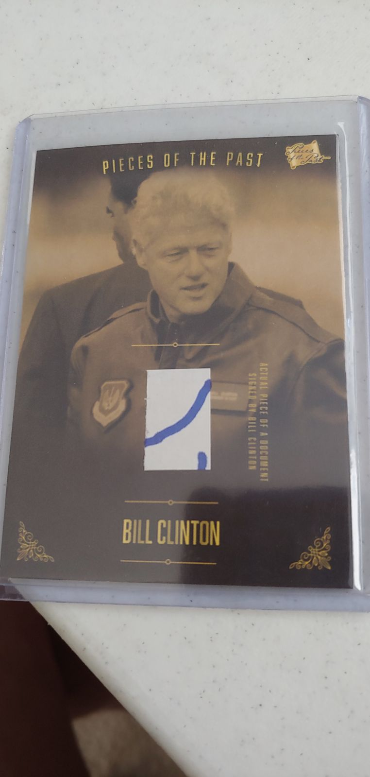 Bill Clinton Piece of Relic Autograph
