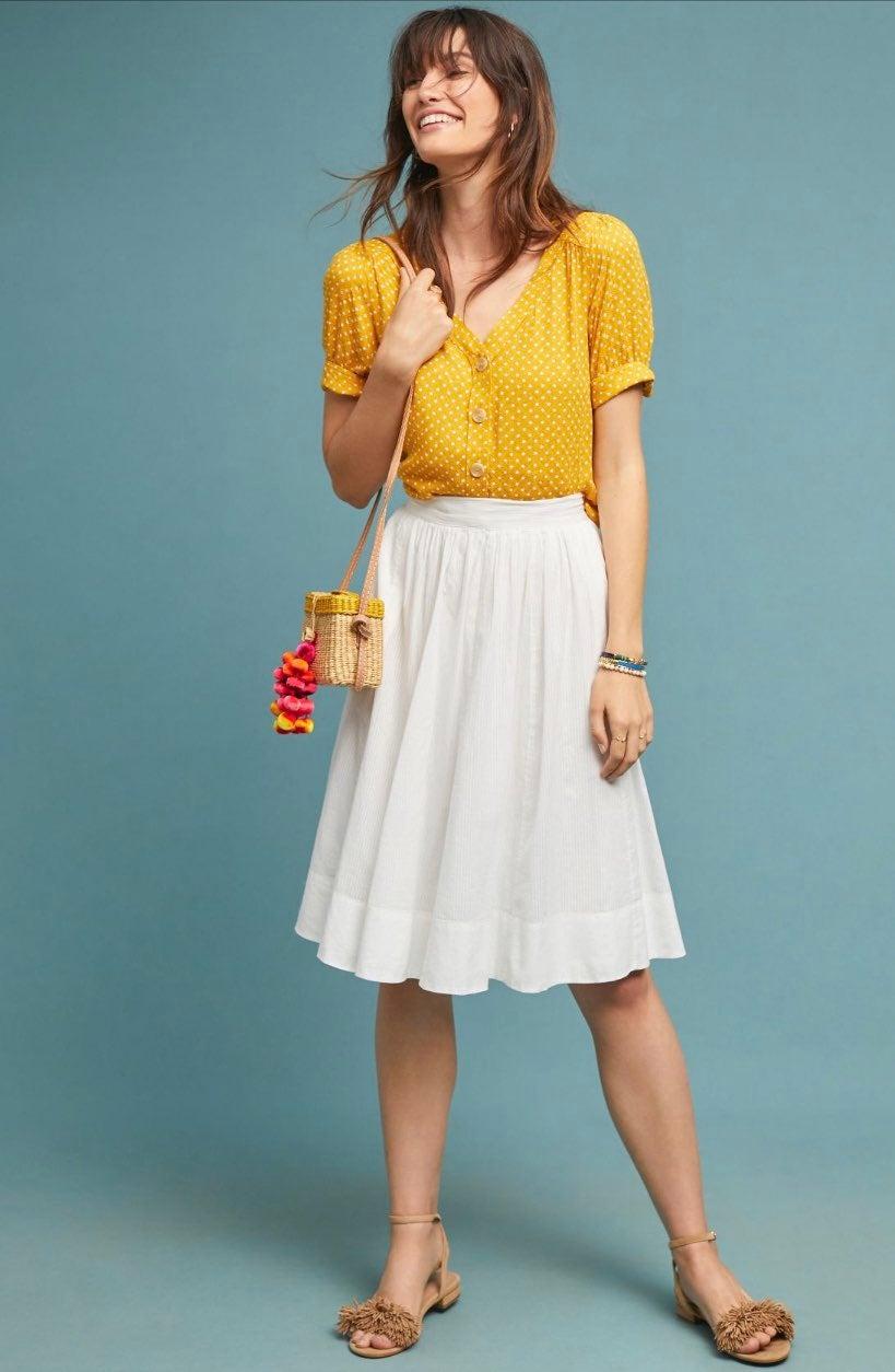 Anthropologie Maeve White Skirt XL