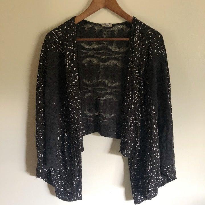 Black & White Print Crochet Lace Kimono