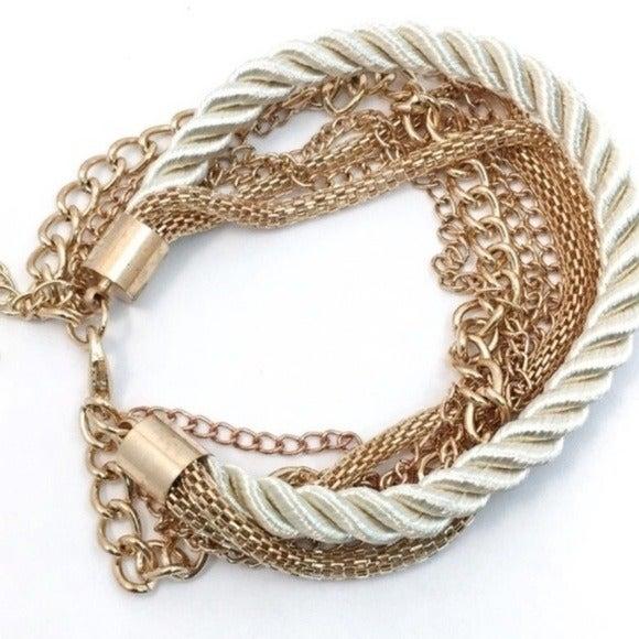 Goldtone Multi Chain Silk Rope Bracelet