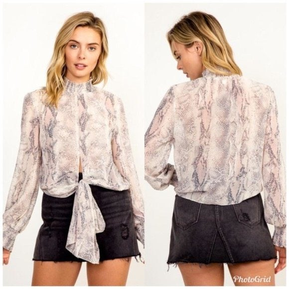 Olivaceous Long Sleeve Snake Print Top