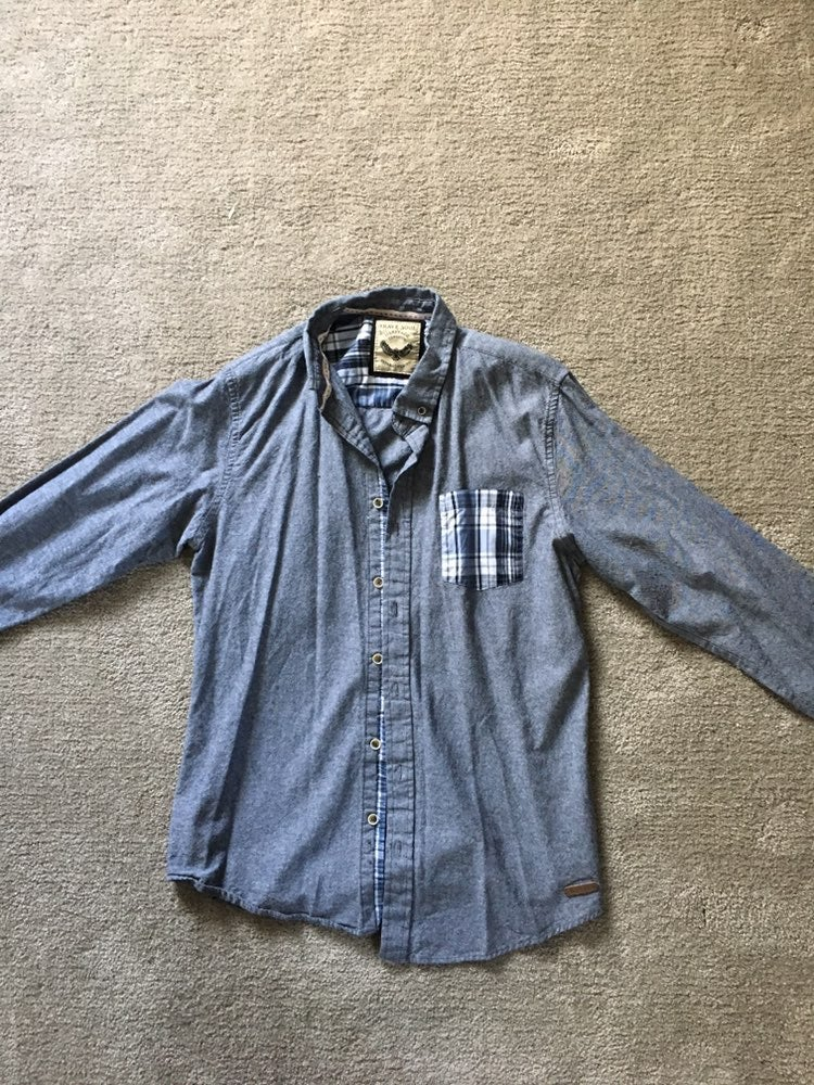 Chambray Button Down Contrast Pocket M