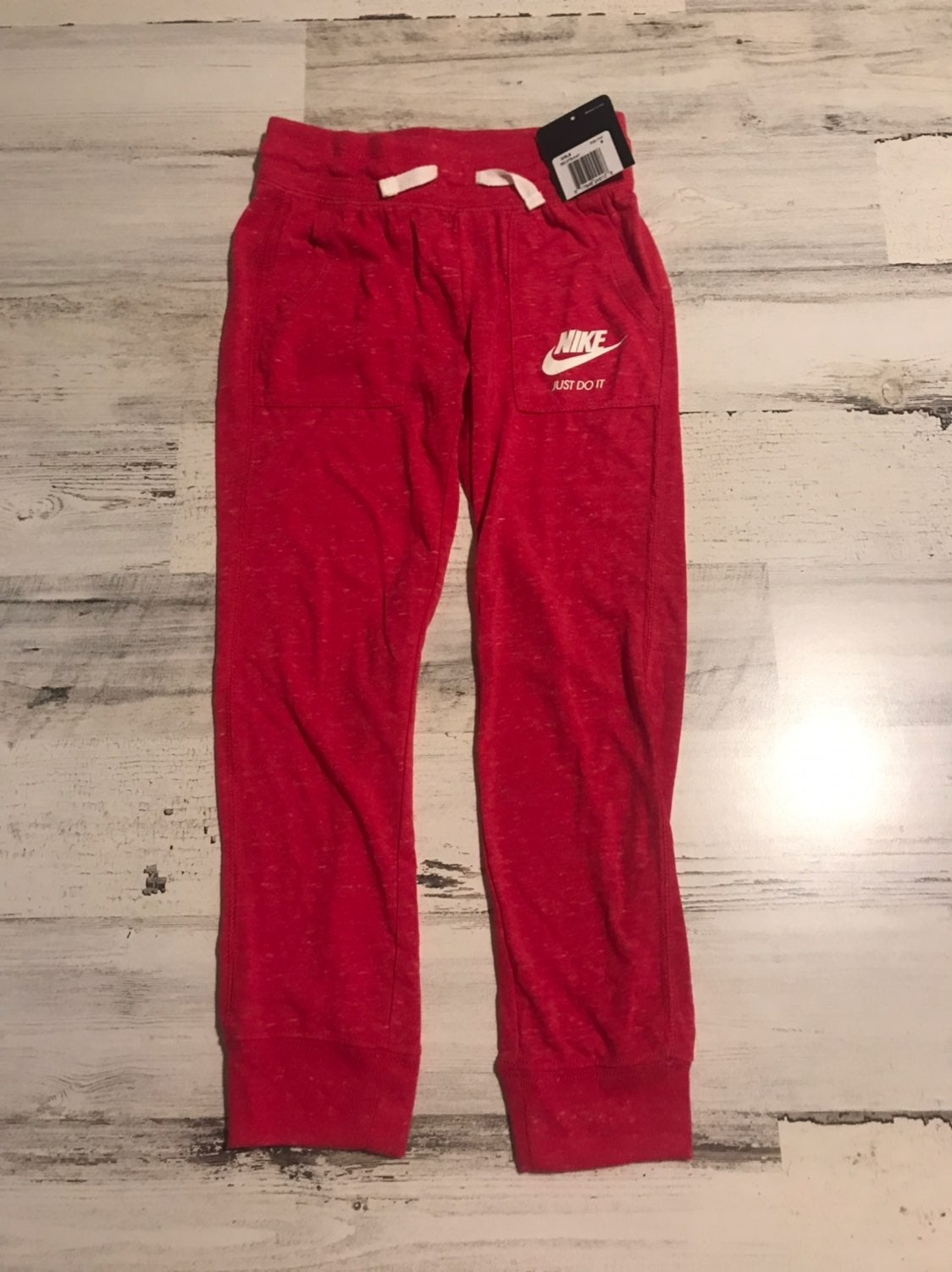 NIKE GIRLS 6 PANTS JUST DO IT RED