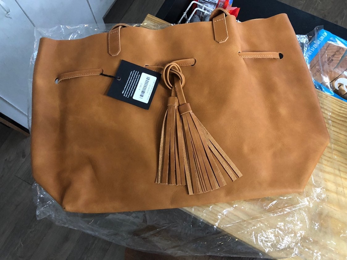 Able large leather cognac tassel tote