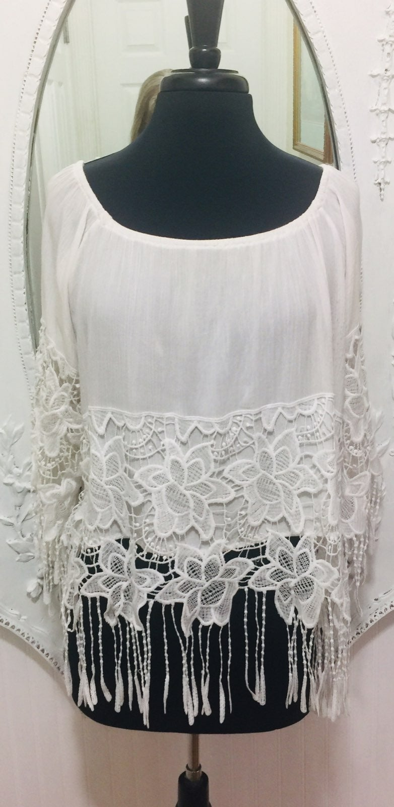 White OffShoulder Lace Blouse