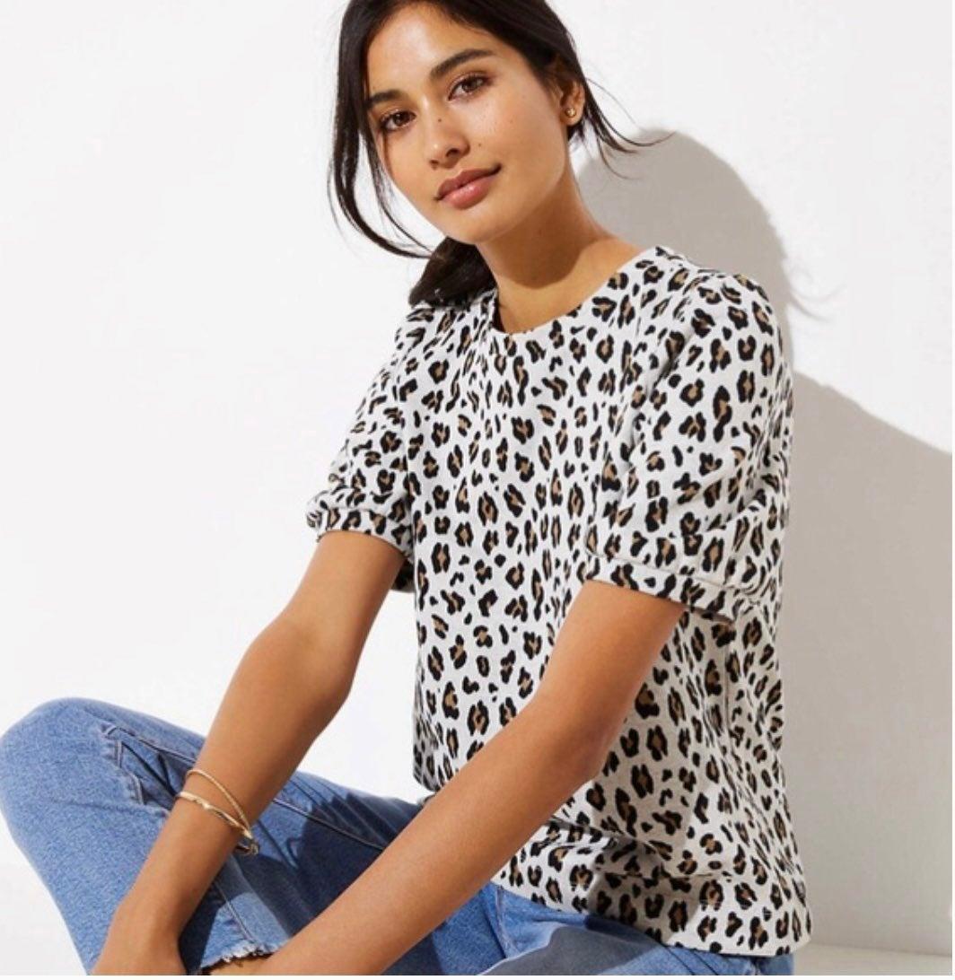 The Loft- Leopard Print Knit Top