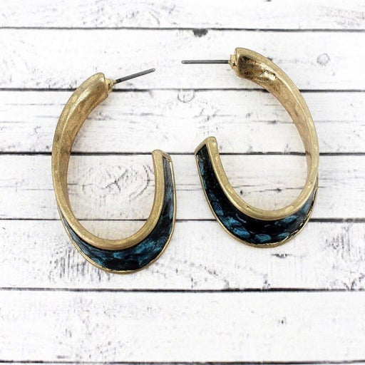 Crave Blue Snakeskin hoops