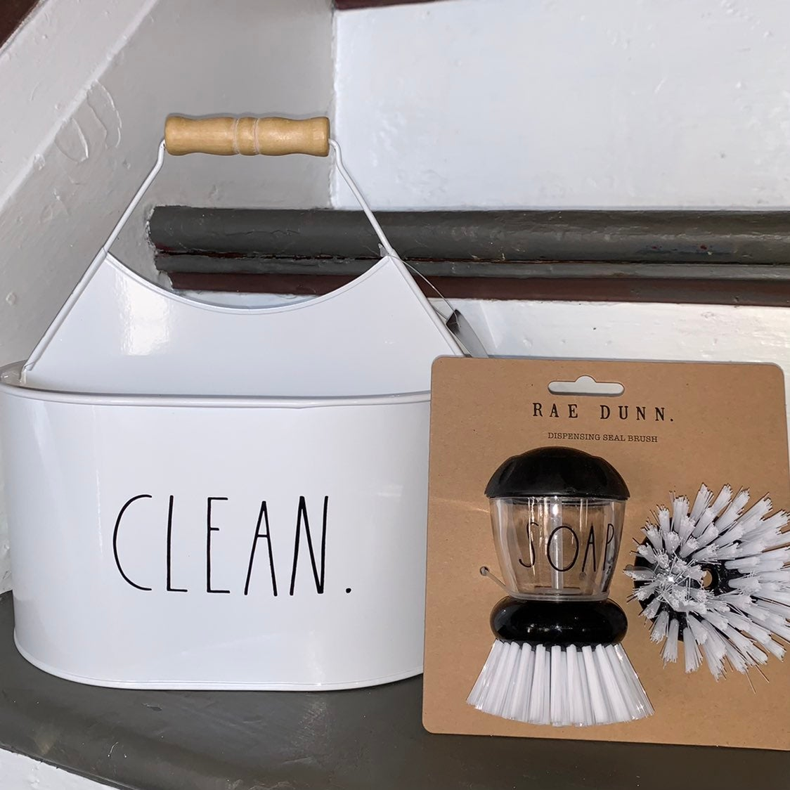 Rae Dunn CLEAN Caddy with SOAP Brush
