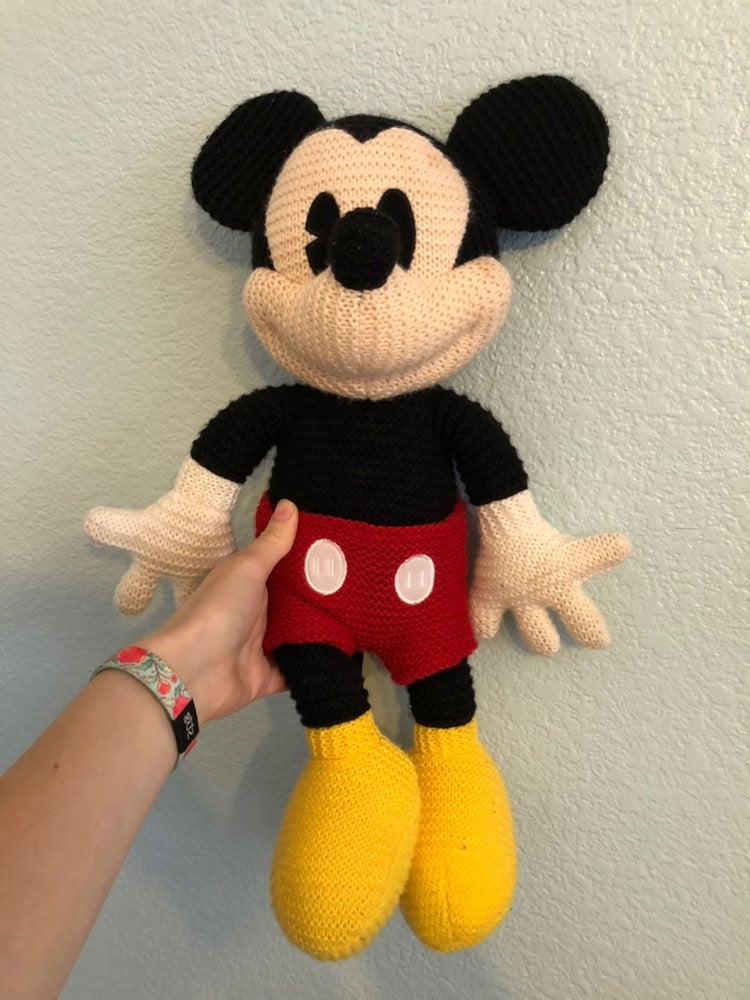 Plush mickey mouse knitted