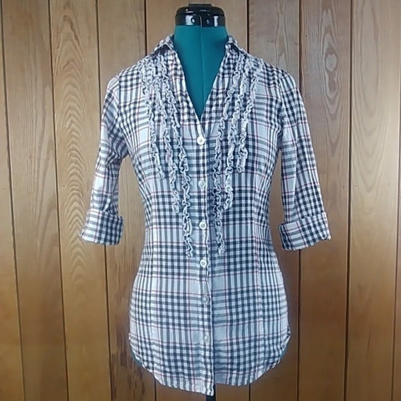 L.e.i. White Plaid Button Down Shirt M