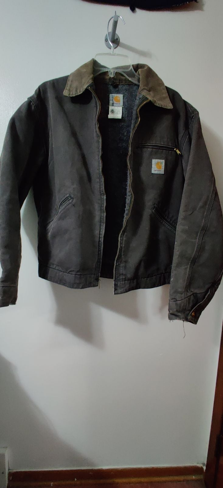 Carhartt Vintage Distressed Blanket lined Trucker Jacket size 44