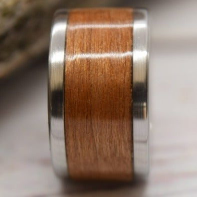 Bentwood Ring, Cherry Bentwood Ring, Stainless Steel Ring, Cherry Ring, Size 8
