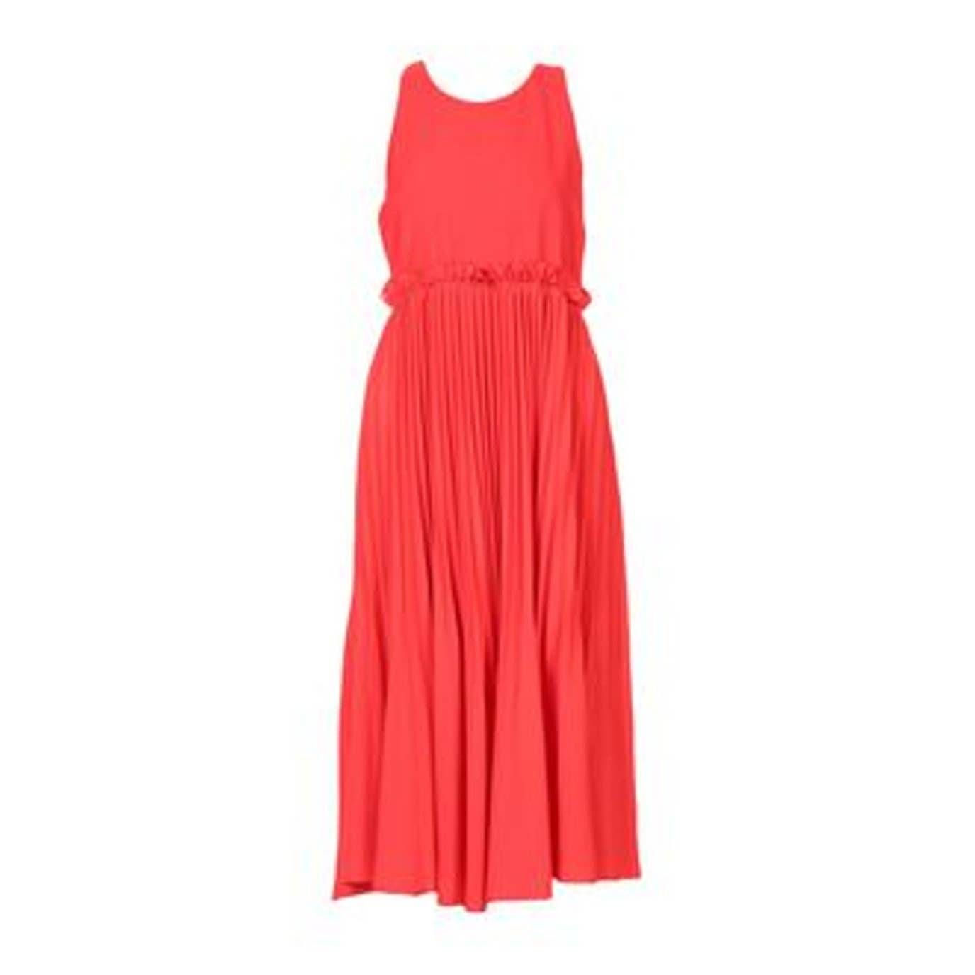 Pinko red midi sleeveless pleated dress