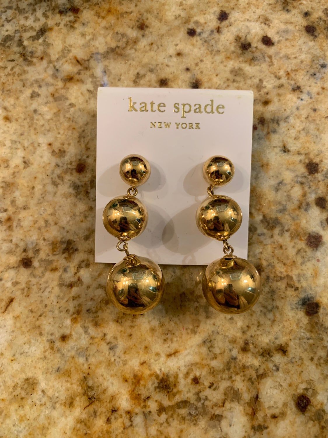 Kate spade gold three ball drop earrings
