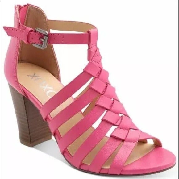 XOXO PINK WEAVED BLOCK HEEL SANDAL 8.5
