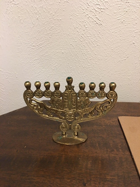 Small brass Menorah made in Israel 1967