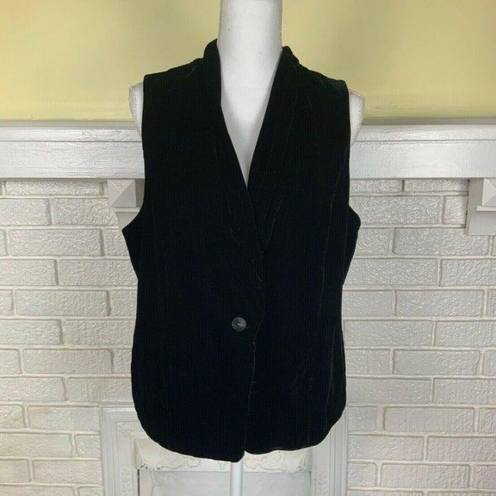 J. Jill Womens Velvet Vest Black Silk M