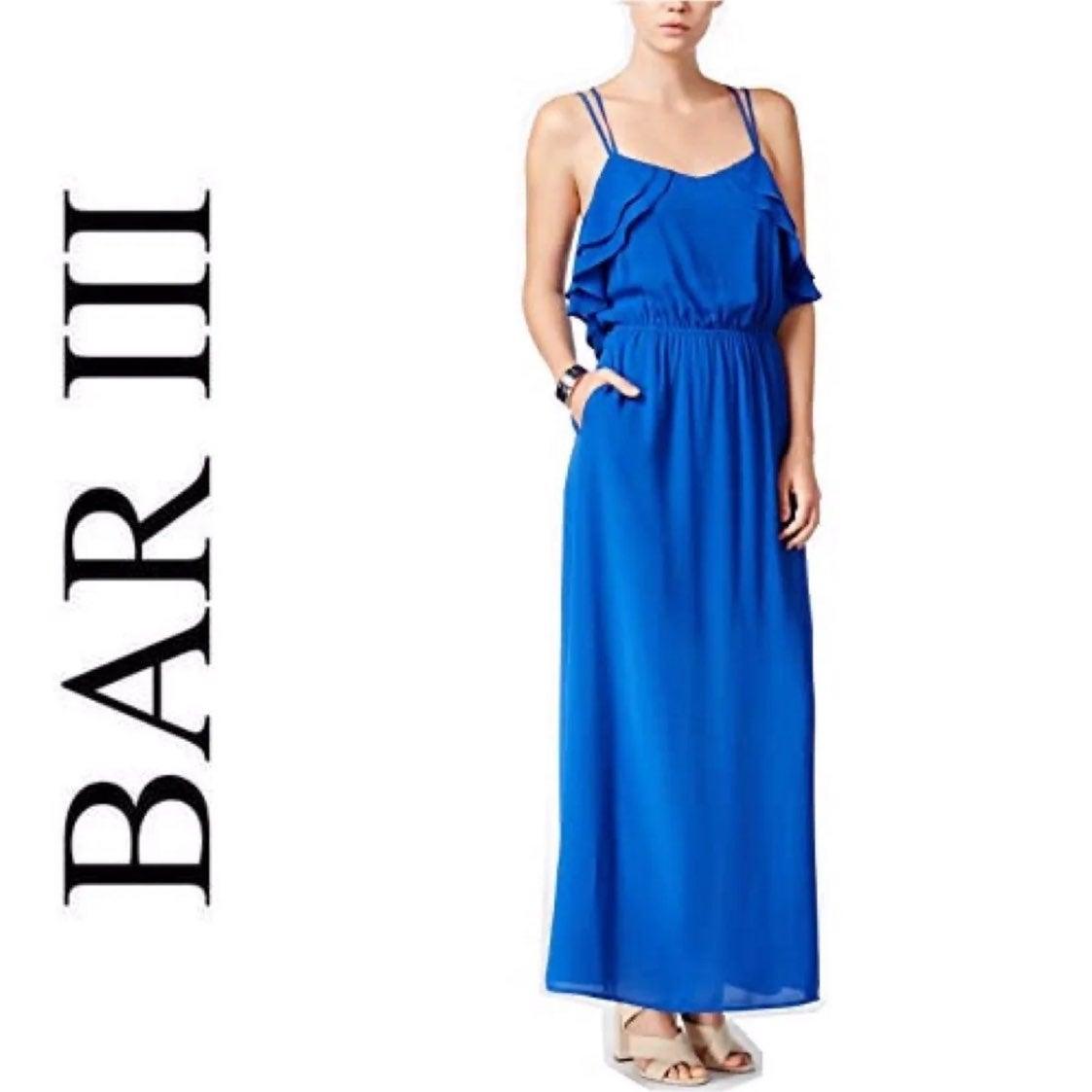 Bar III Ruffle Maxi Dress Large Blue