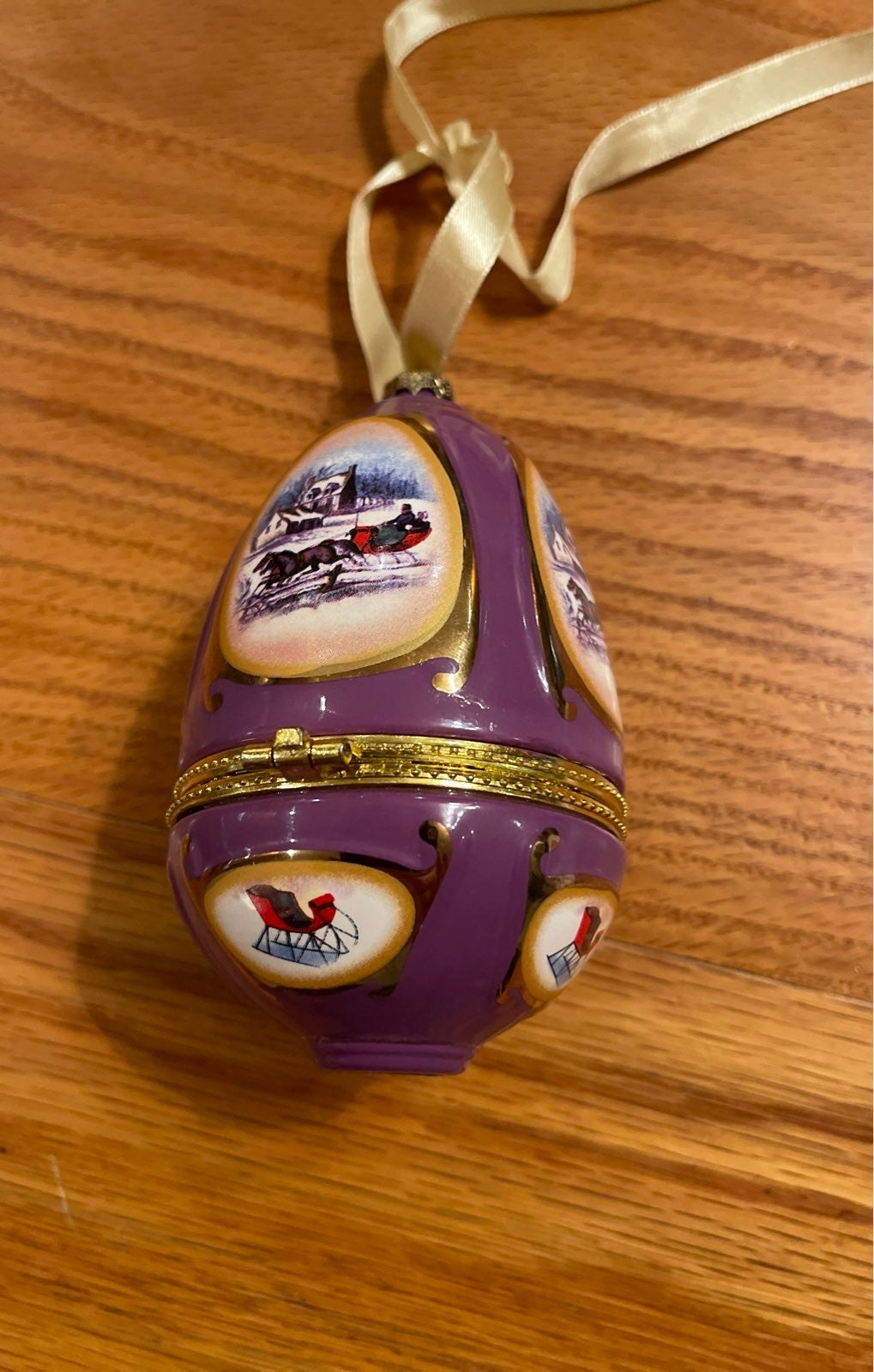 Christmas Sleigh Porcelain Musical Ornam