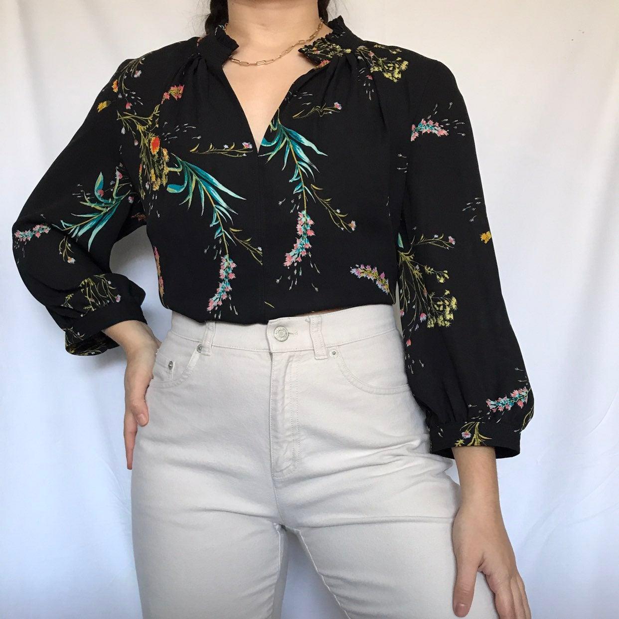Worthington petite floral chiffon blouse