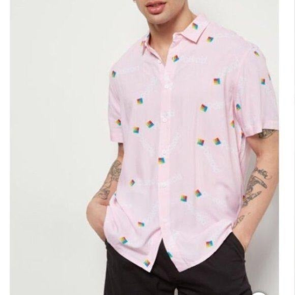 Polaroid Pink Button Front Short Sleeve  Logo Size Large