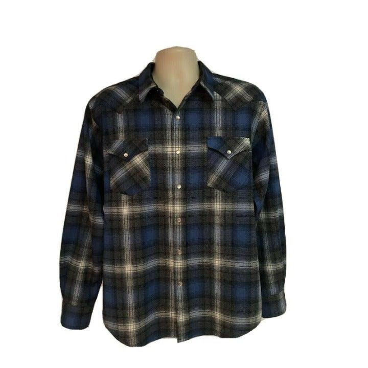 Pendleton Plaid Wool Pearl Snap Shirt L