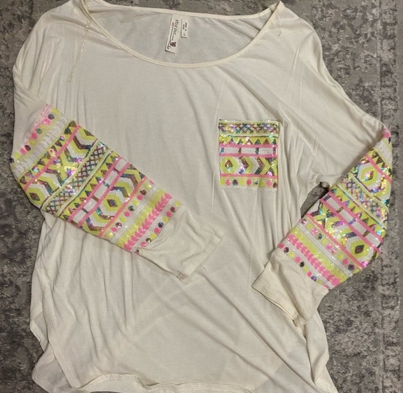 Pink Owl Long Sleeve Top
