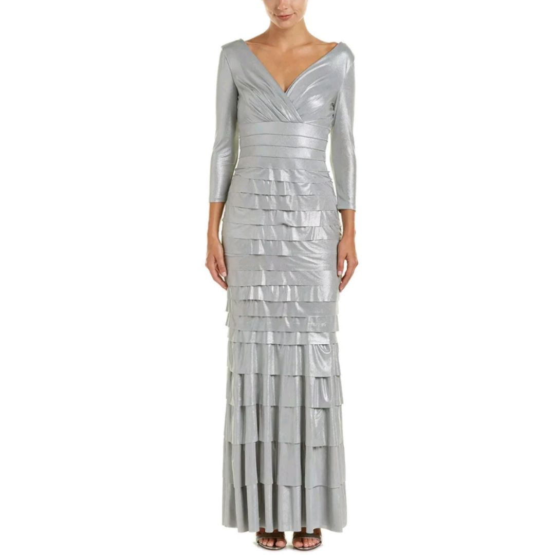 Kay Unger Silver Ruffle Tiered Dress