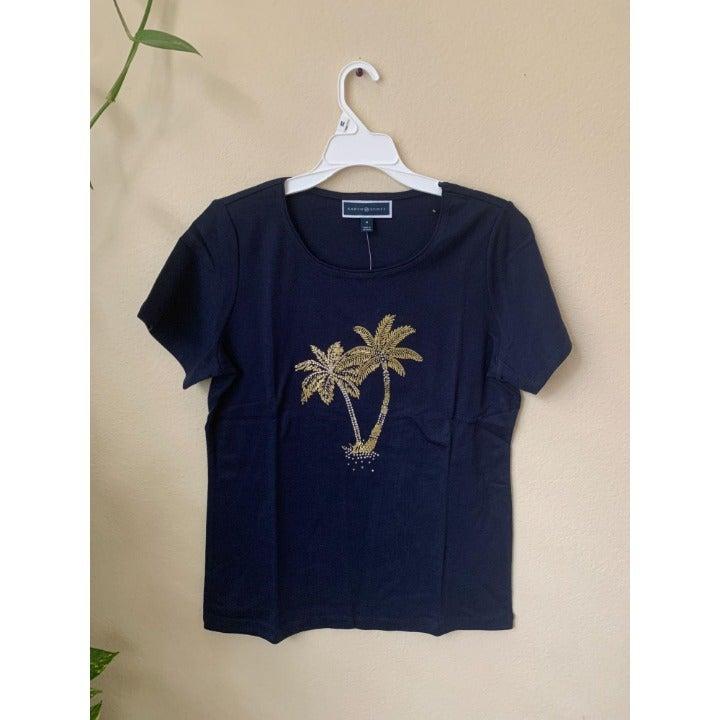 Karen Scott M T-shirt Blue Embellished