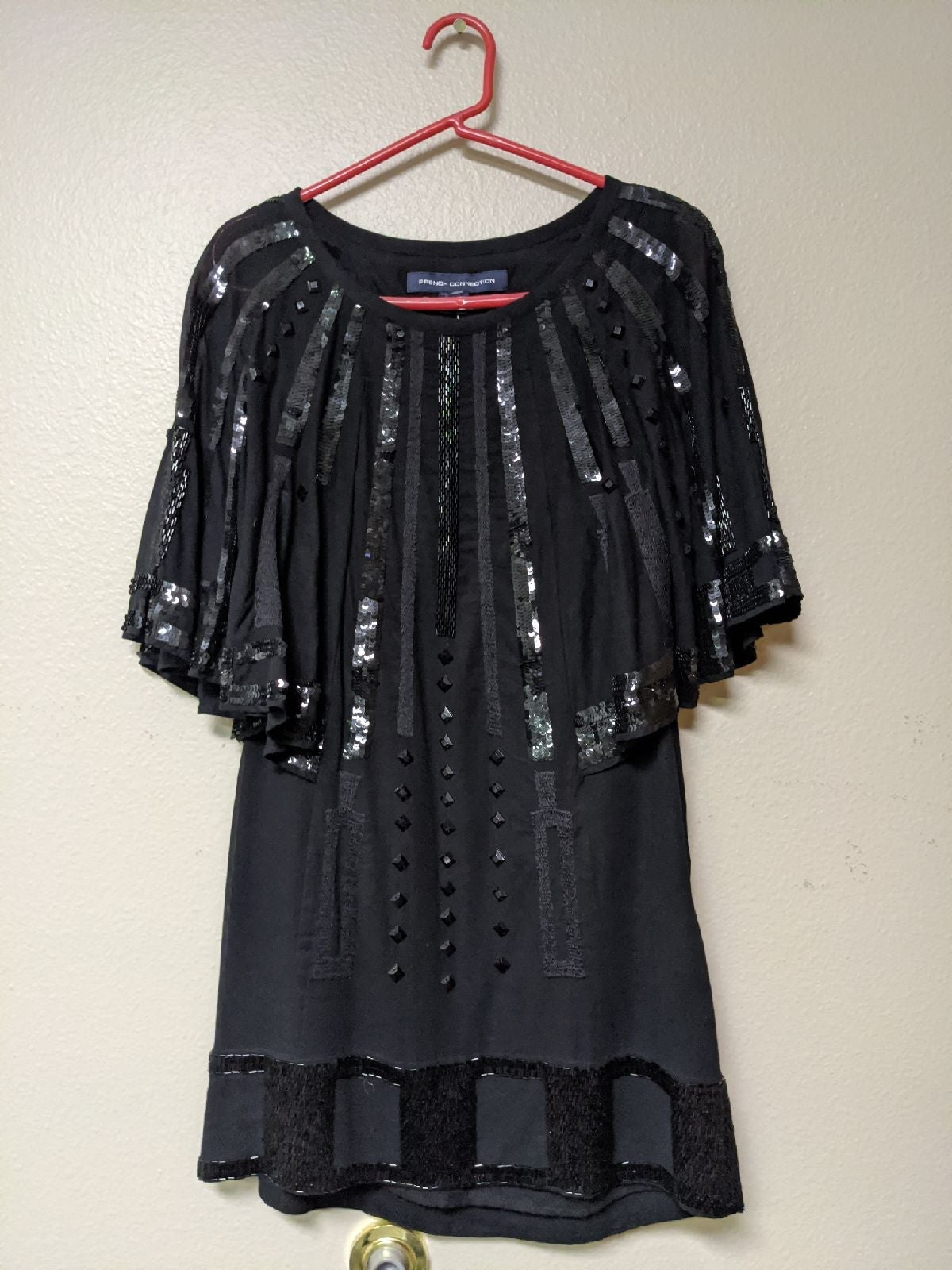 FRENCH CONNECTION Black Sequin Dress NWT