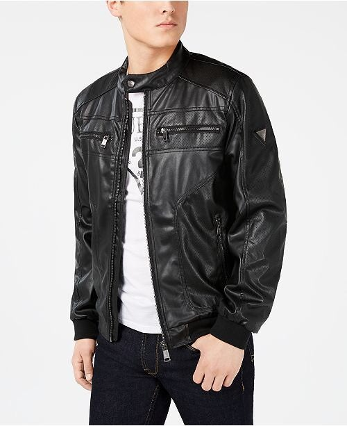 Guess Faux Leather Perforated Jacket