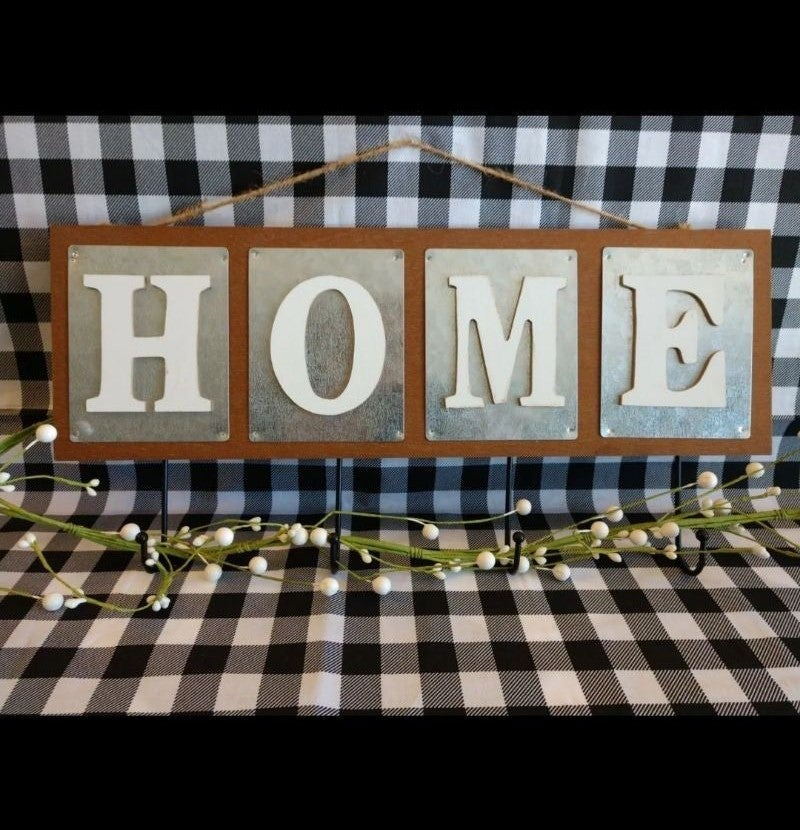 "Rustic Farmhouse ""Home"" Sign With Hooks"