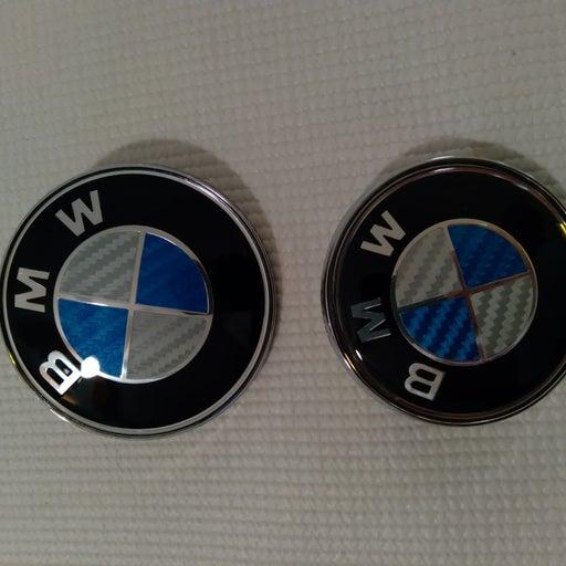 BMW blue and gray carbon fiber emblems
