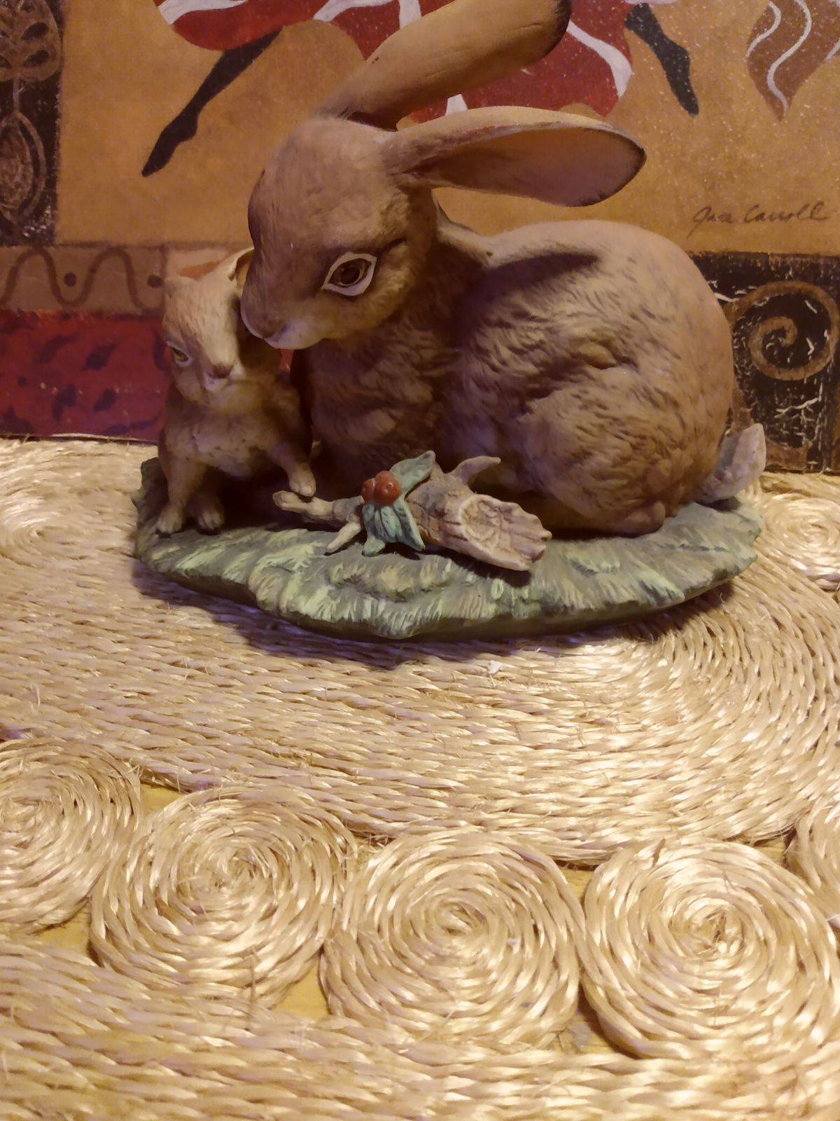 Homco Mother and Baby Rabbit
