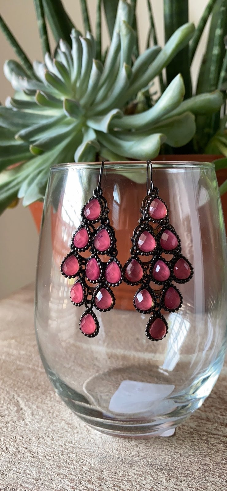 Purple Rose Chandelier Earrings