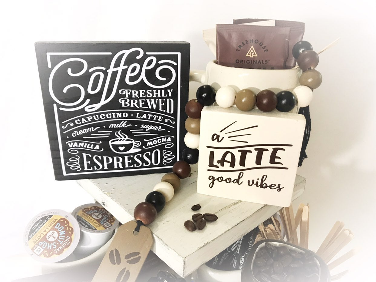 Tiered tray coffee signs set