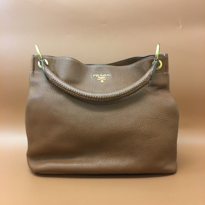 Prada Vitello Daino Sacca Brandy Hobo