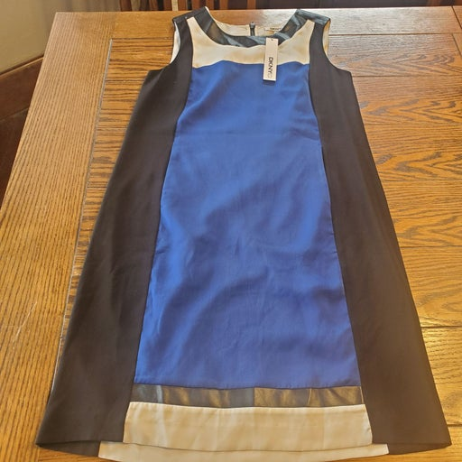 NWT DKNYC blue&black colorblock dress si