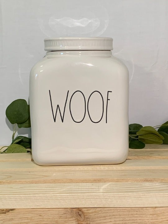 Rae Dunn WOOF Dog Food / Treat Jar White