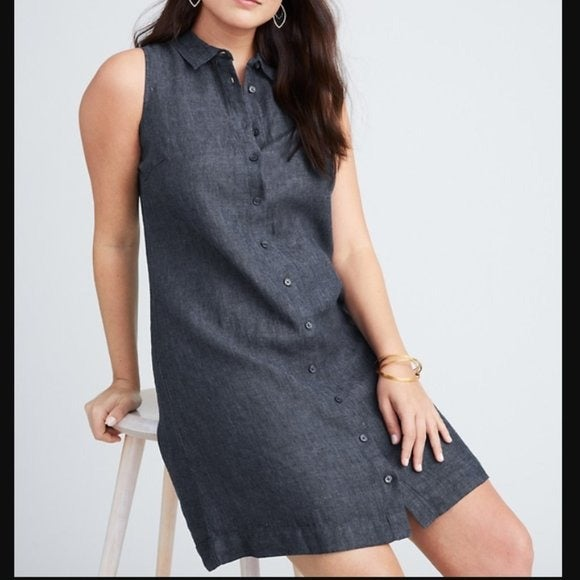 Garnet Hill Indigo Blue Linen Dress 12